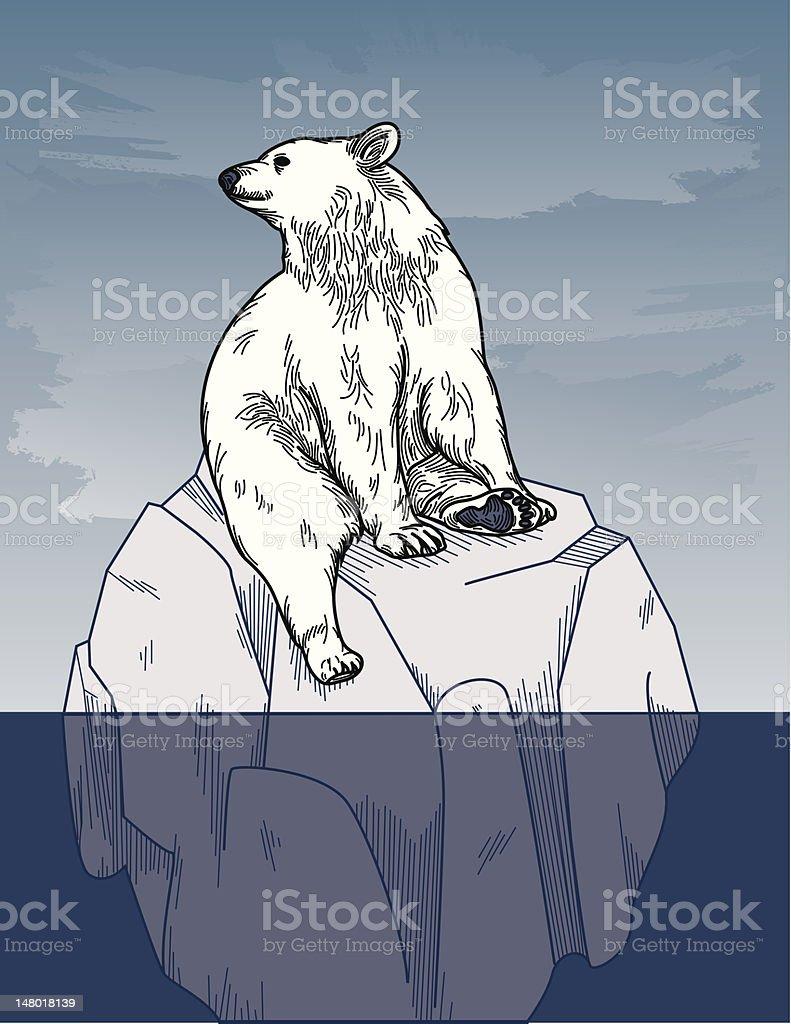 Polar Bear on Iceberg royalty-free stock vector art