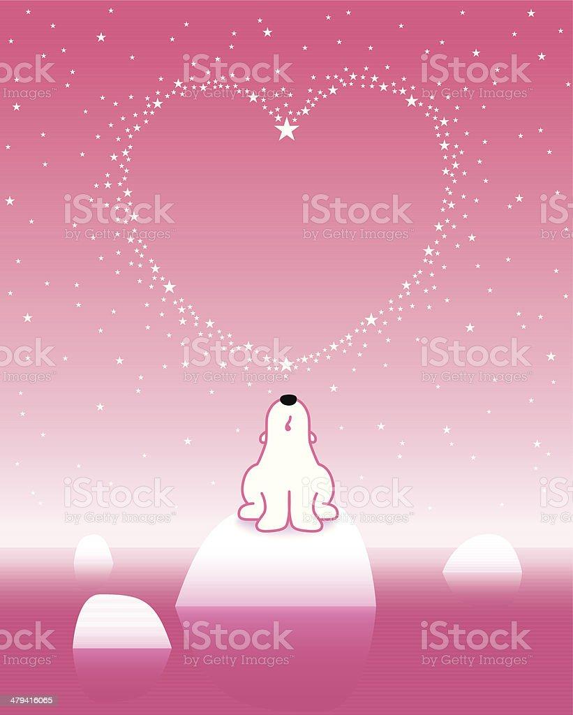 Polar Bear on Iceberg with Star Heart_Pink_1 royalty-free stock vector art