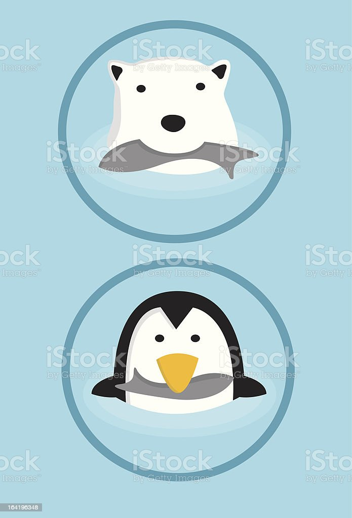 Polar Bear & Penguin royalty-free stock vector art