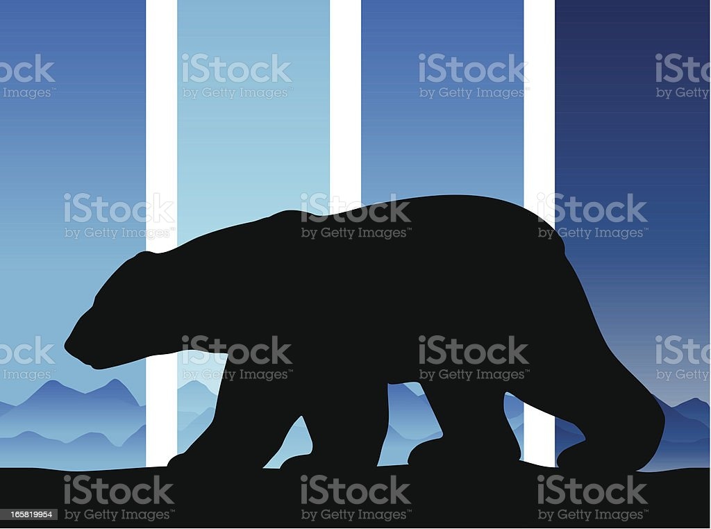 Polar bear silhouette in the arctic vector art illustration