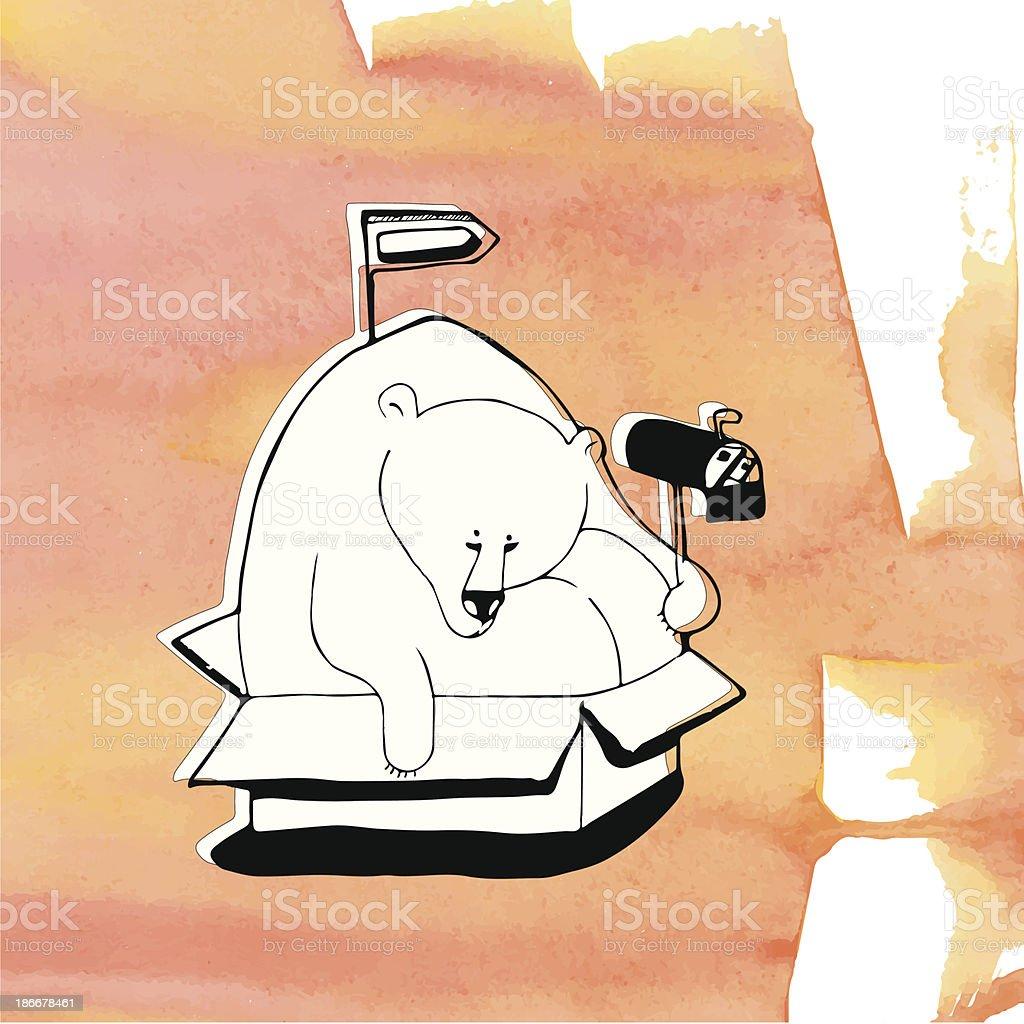 Polar bear sitting in a box vector art illustration