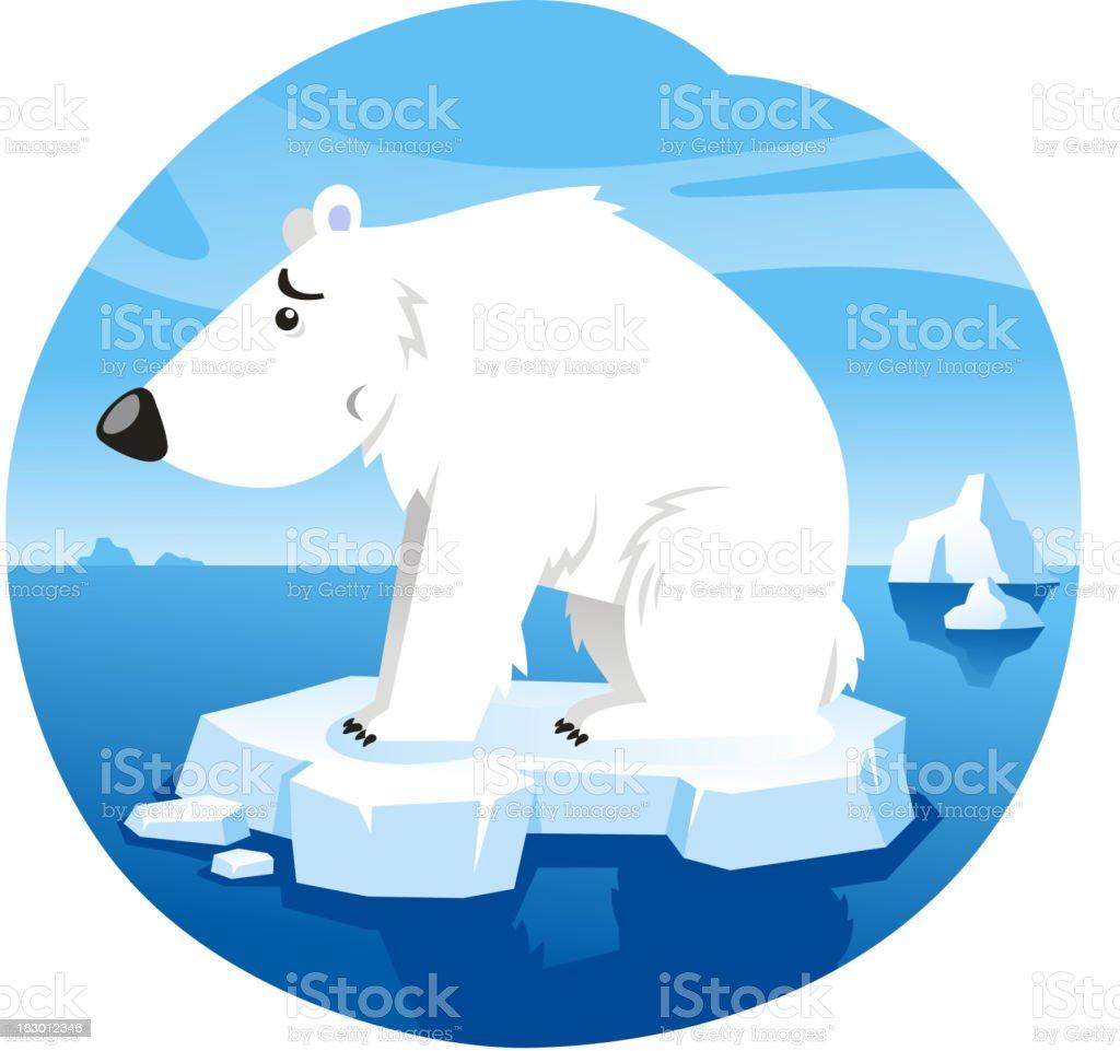 Polar Bear Standing Worried On Ice royalty-free stock vector art