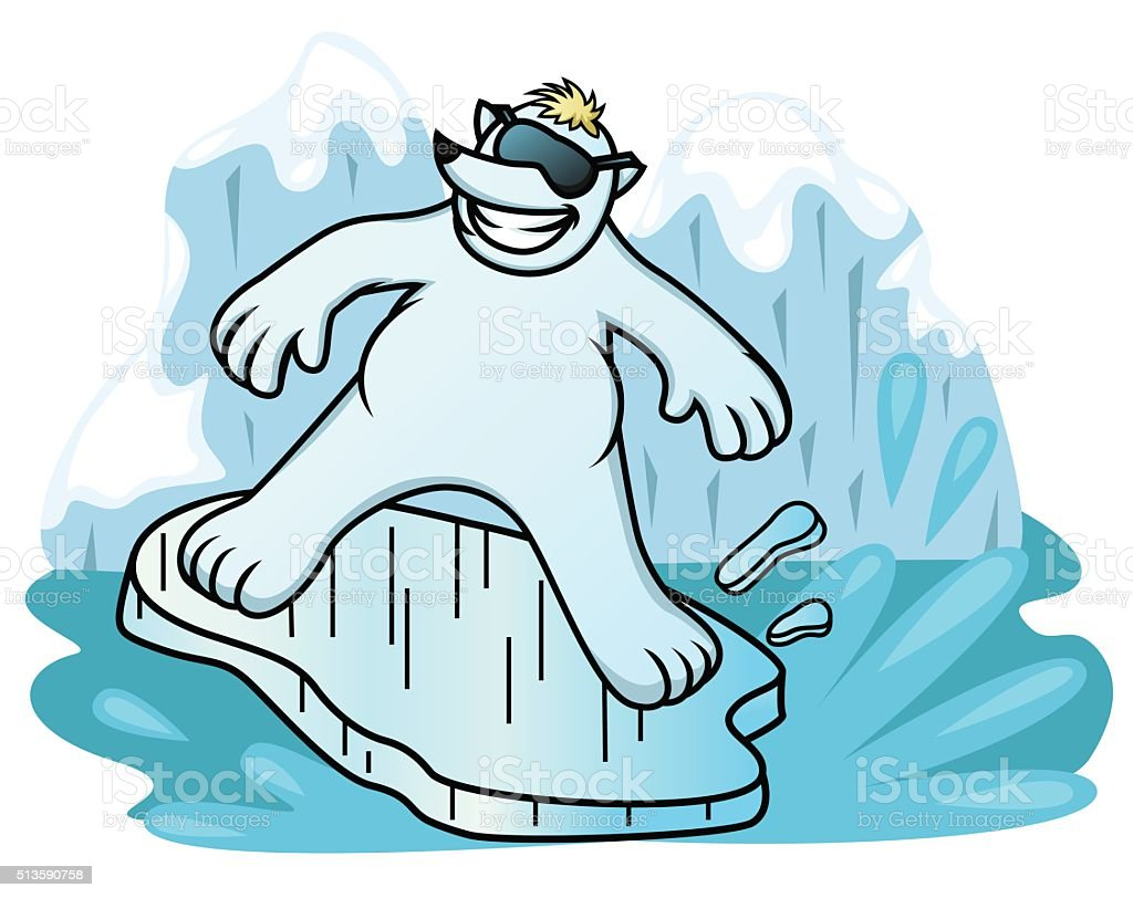 Polar Bear Surfing with Ice Shelf vector art illustration