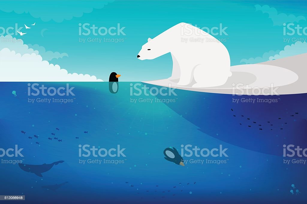 Polar bear vs Penguins vector art illustration