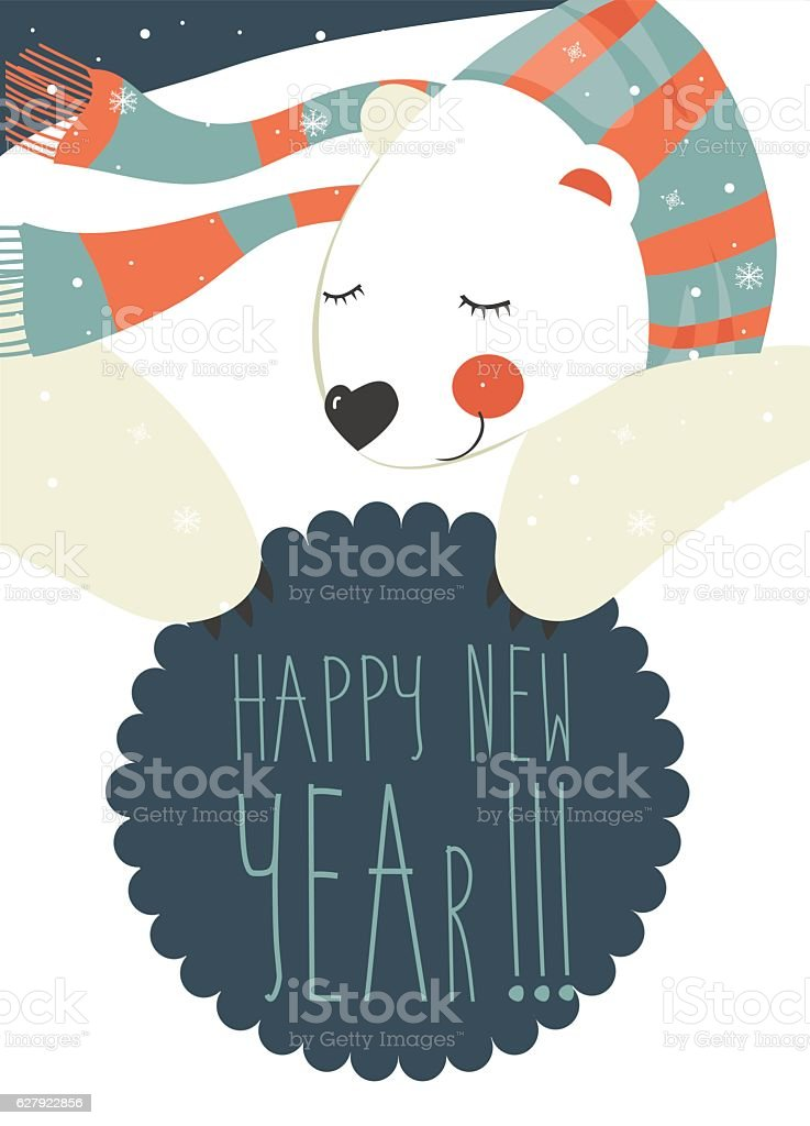 Polar bear wishing you Merry Christmas vector art illustration