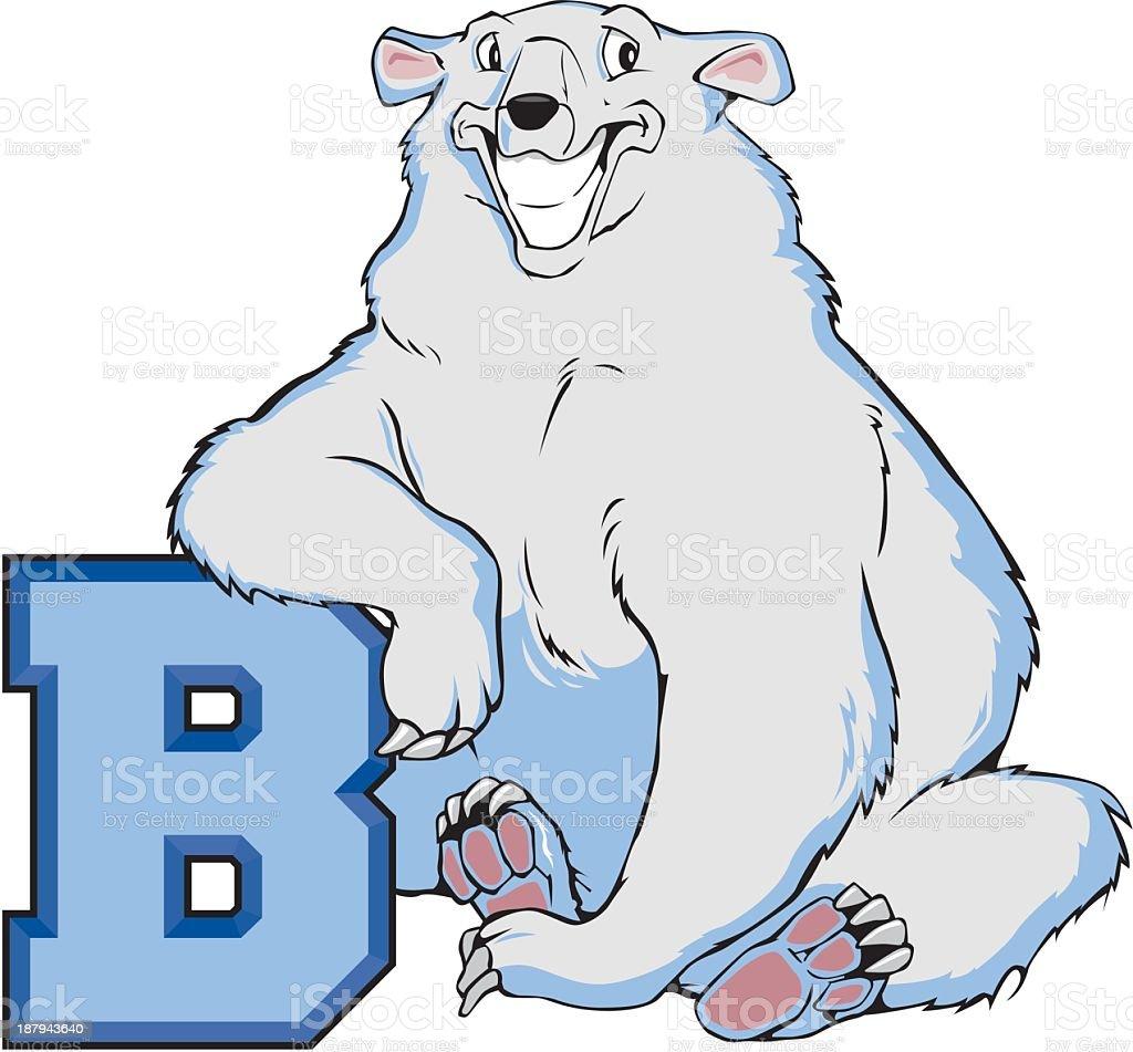 Polar Bear with the Letter B royalty-free stock vector art