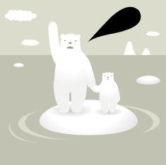 Polar Bears and Global Warming vector art illustration