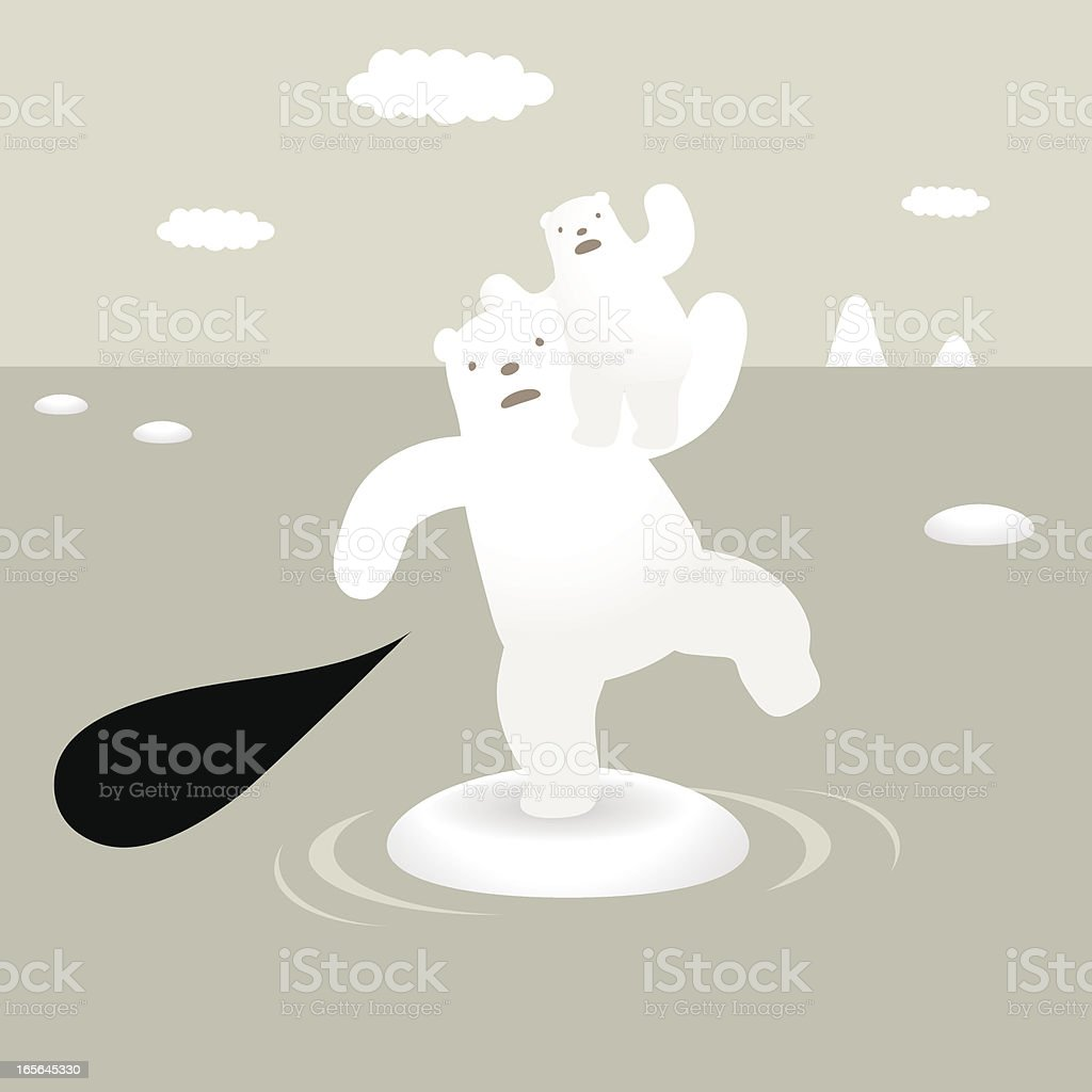 Polar Bears and Global Warming royalty-free stock vector art