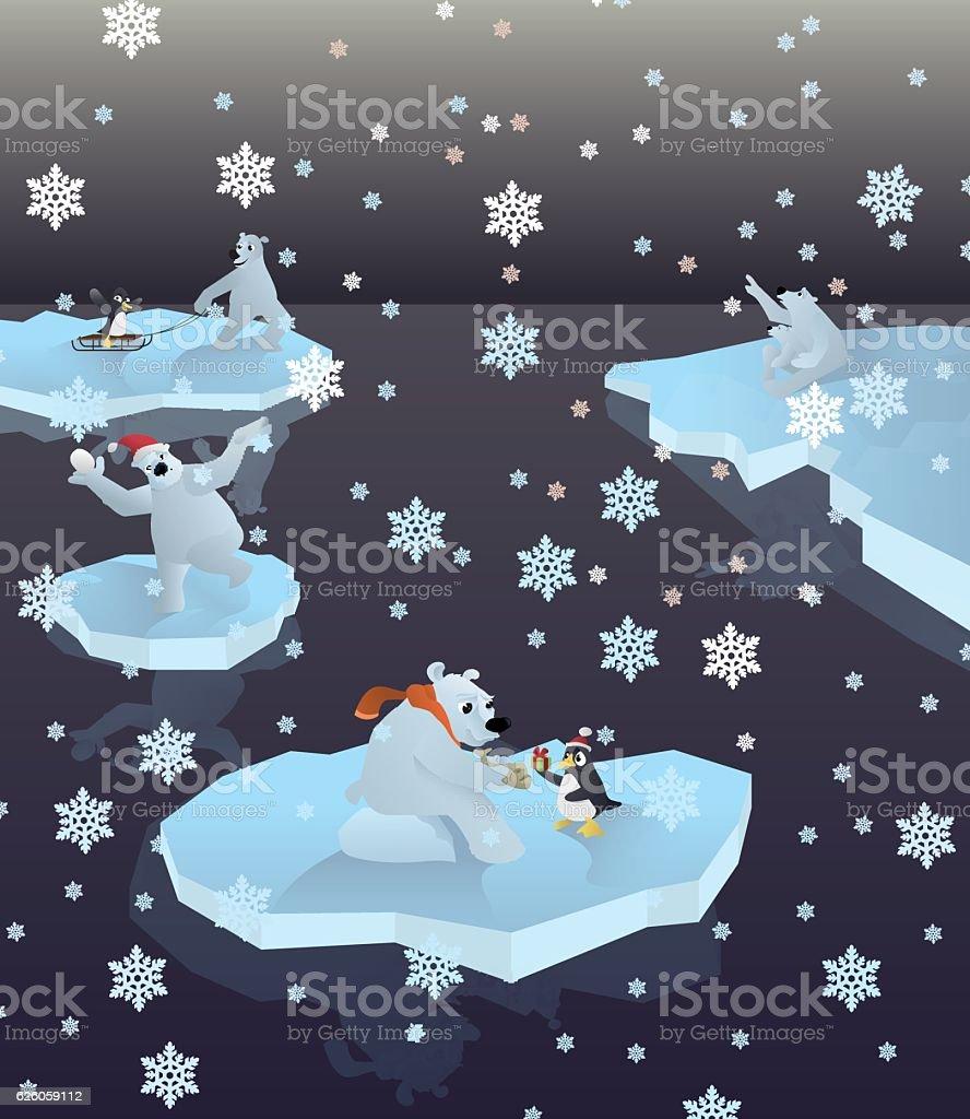 polar bears and penguins royalty-free stock vector art