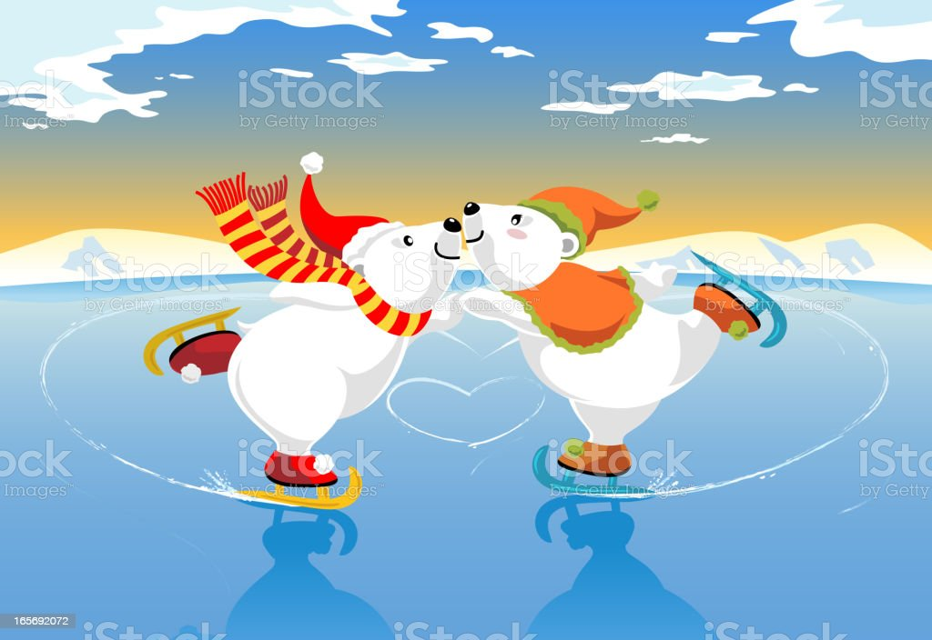 Polar Bears Ice Skating Romance vector art illustration