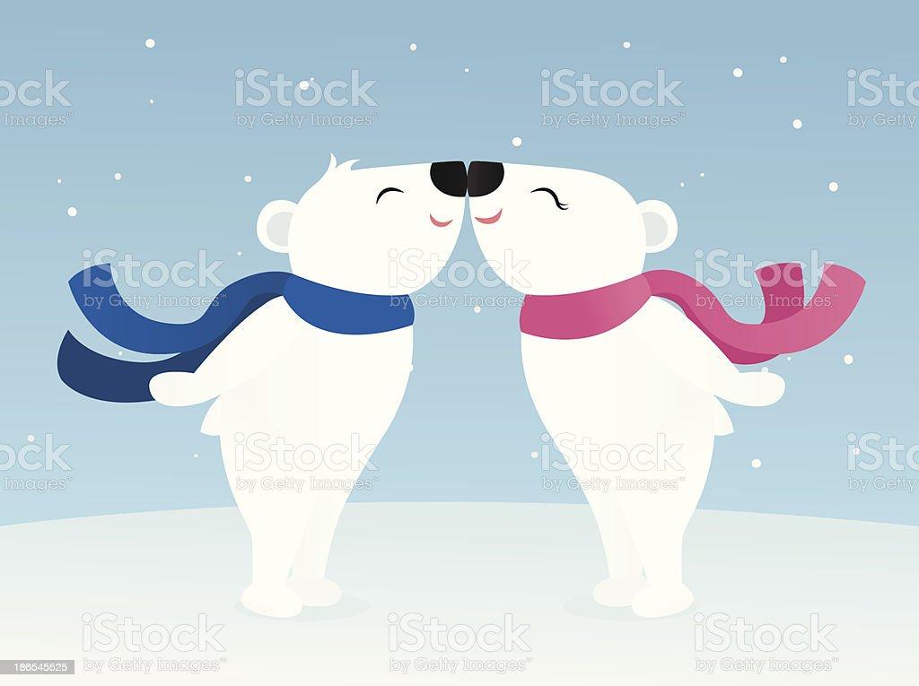 Polar Bears vector art illustration