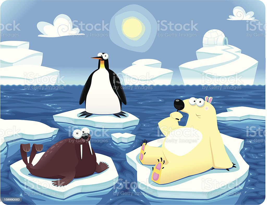 Polar scene in a blue ocean and sky royalty-free stock vector art