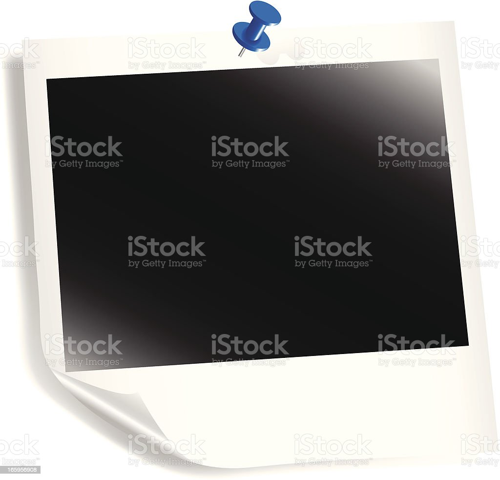 Polaroid Curled with Pin royalty-free stock vector art