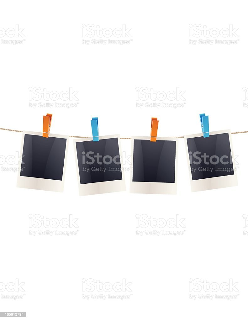 Polaroid Frames On a Clothesline vector art illustration