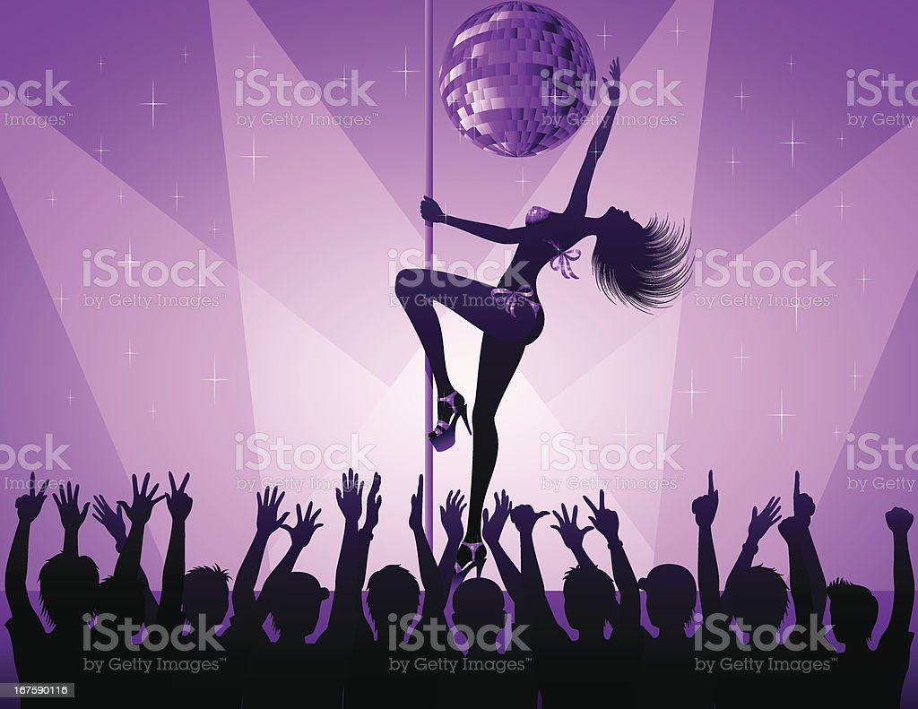 Pole Dance Woman vector art illustration