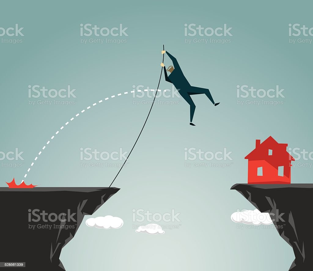 Pole Vault, Residential,House,Challenge, Conquering Adversity, Ravine, Cliff vector art illustration