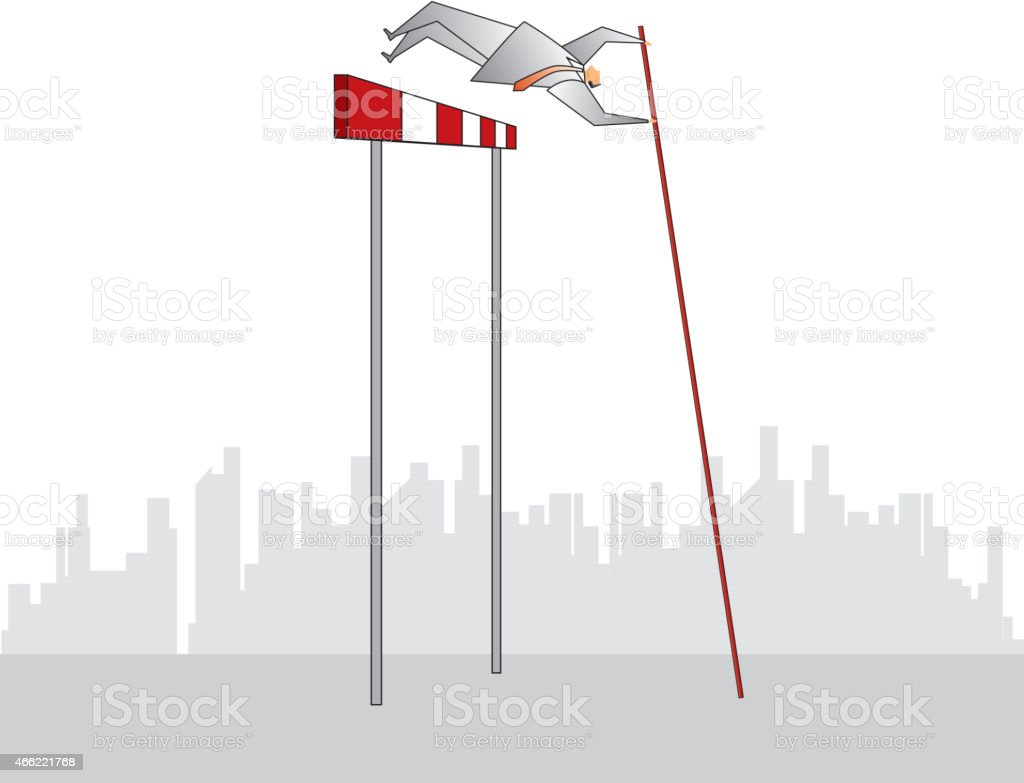Pole vault vector art illustration