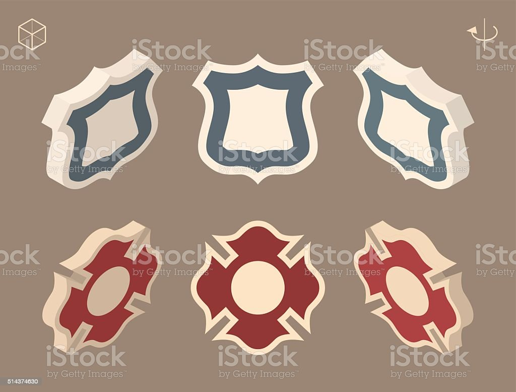 Police and Fire Department Badge. vector art illustration