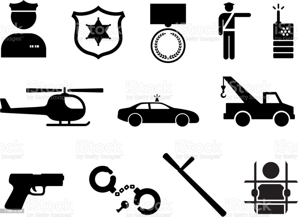 Police and Law Enforcement royalty free vector icon set vector art illustration