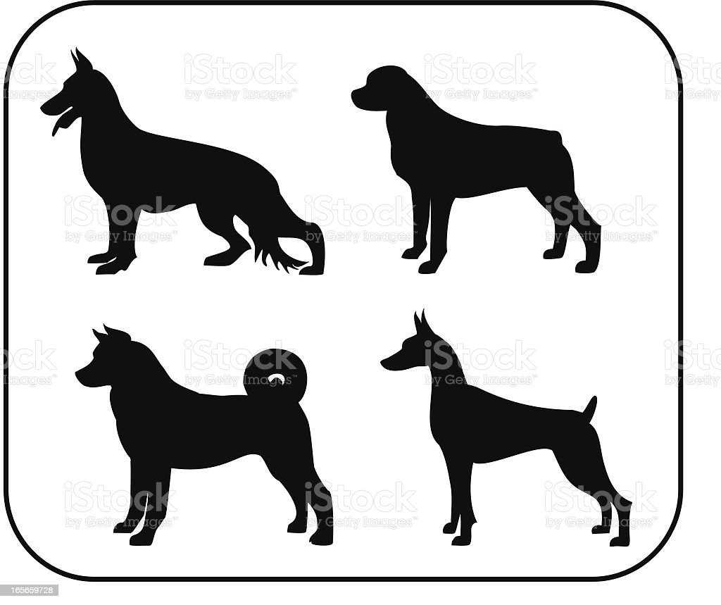 Police and Personal Protection Dogs Silhouettes royalty-free stock vector art