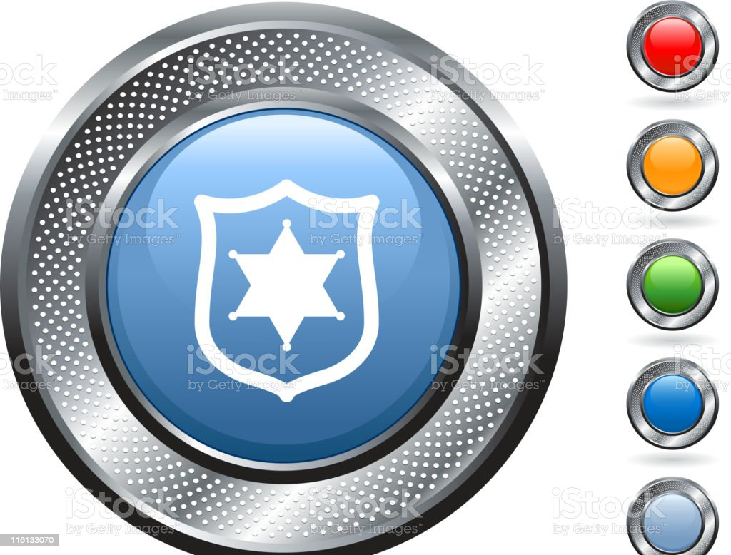 police badge royalty free vector art on metallic button royalty-free stock vector art