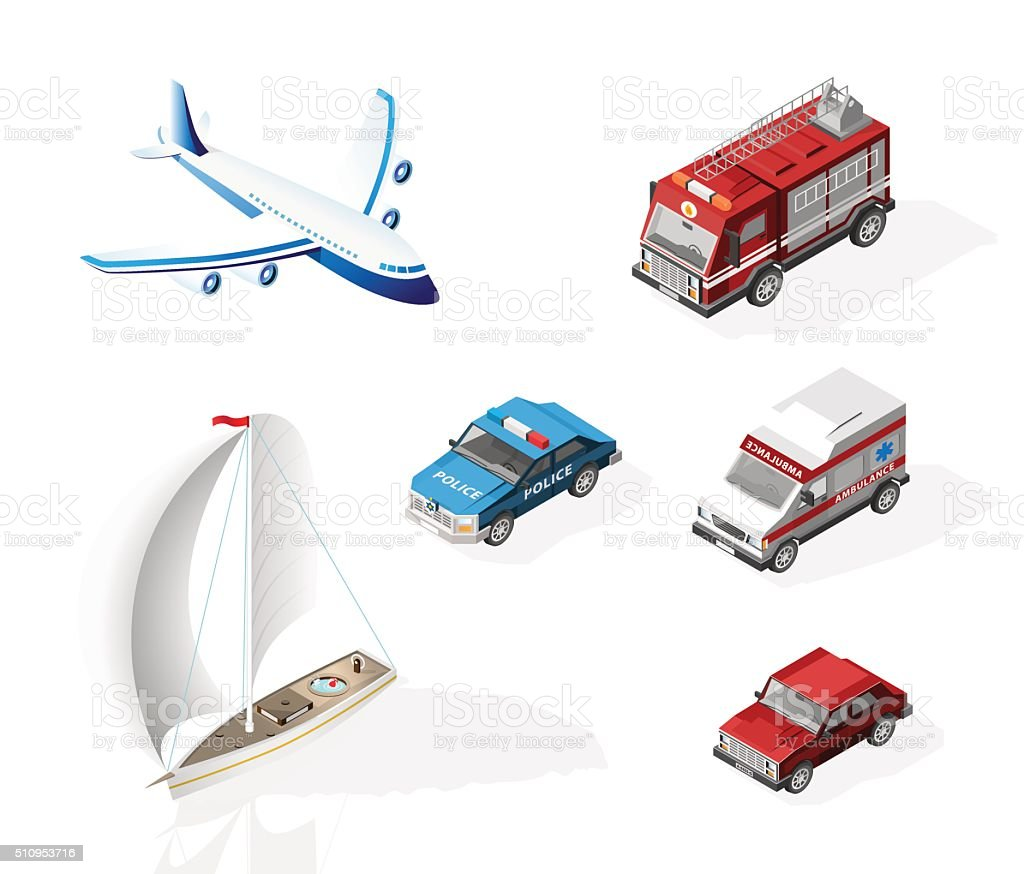 Police Car , Fire Truck , Ambulance , Airplane , Boat and Car. vector art illustration