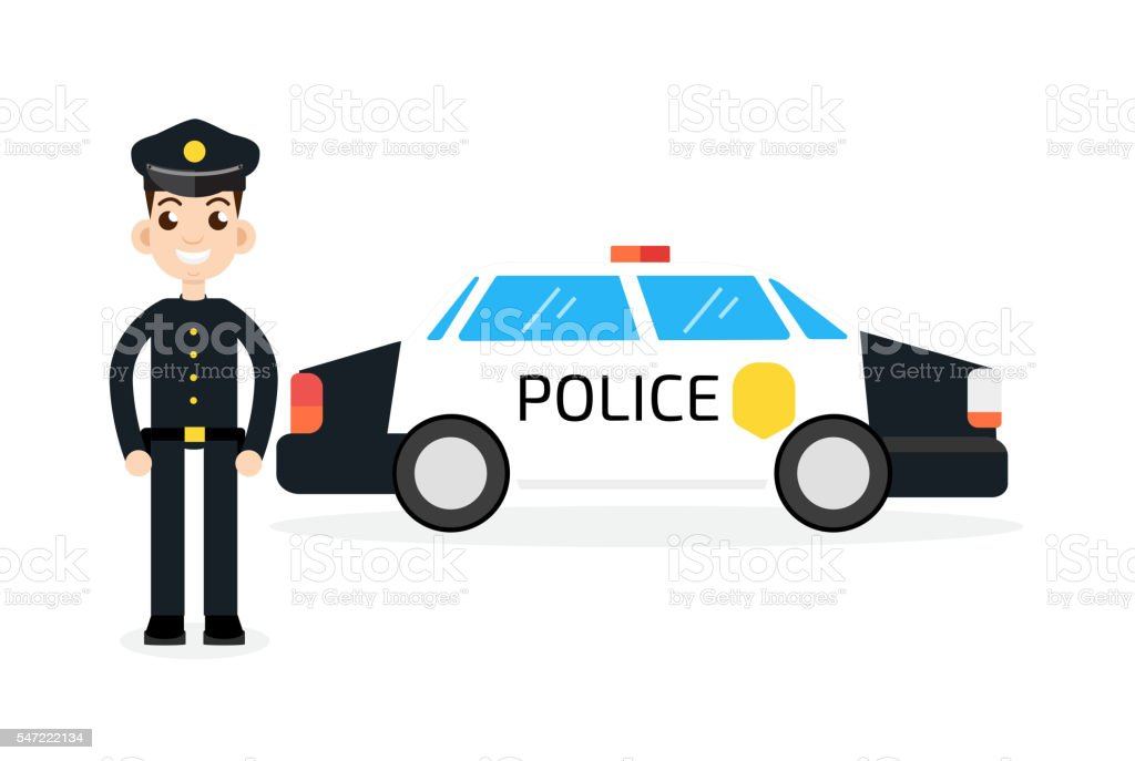 police car with policeman vector art illustration