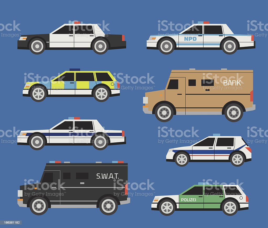 Police cars royalty-free stock vector art