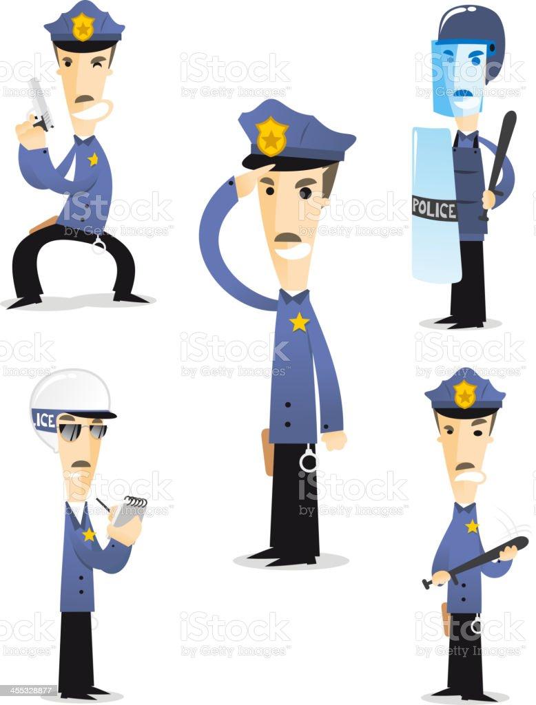 Police cartton collection 1 royalty-free stock vector art