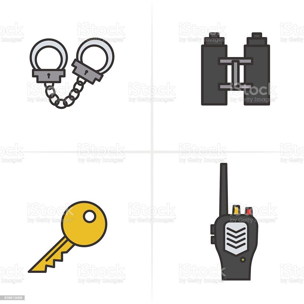 Police color icons set. Key, radio, handcuff, binoculars symbol. Logo vector art illustration