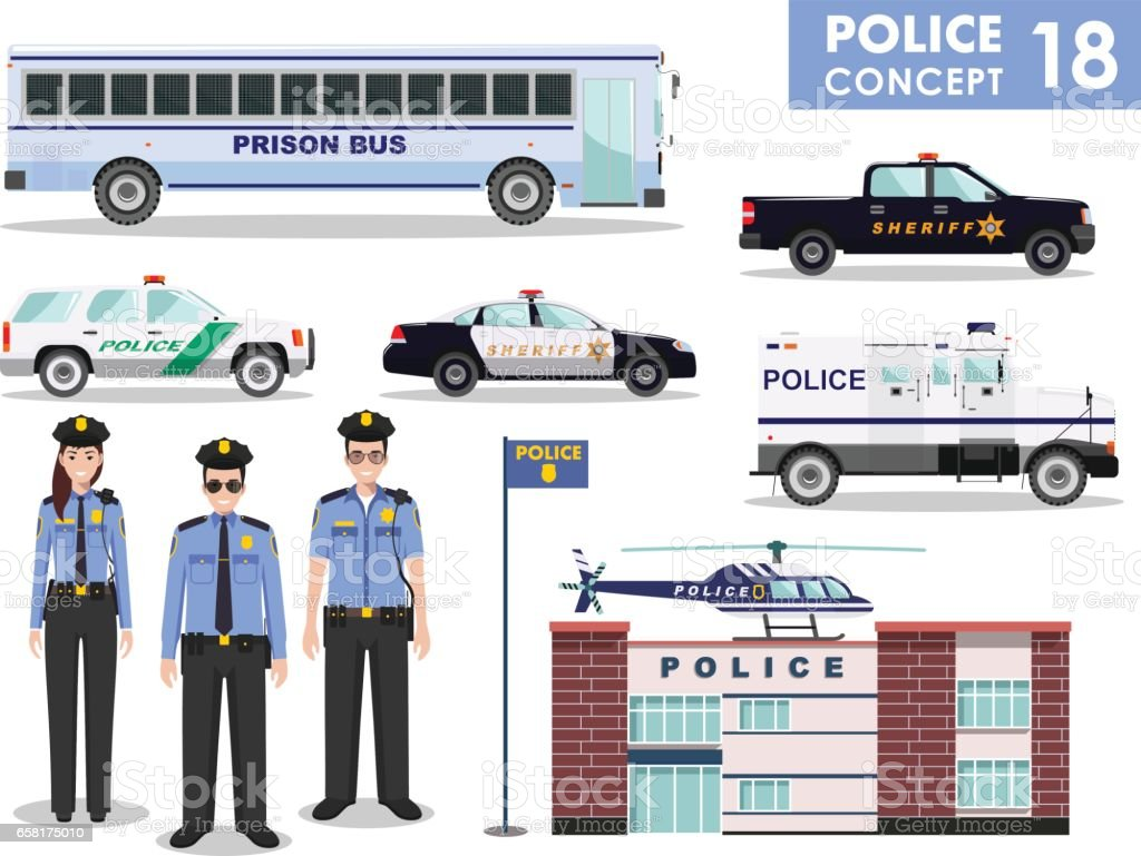 Police concept. Detailed illustration of police station, policeman, sheriff, prison bus, helicopter, armored S.W.A.T. truck and car in flat style on white background. Vector illustration vector art illustration