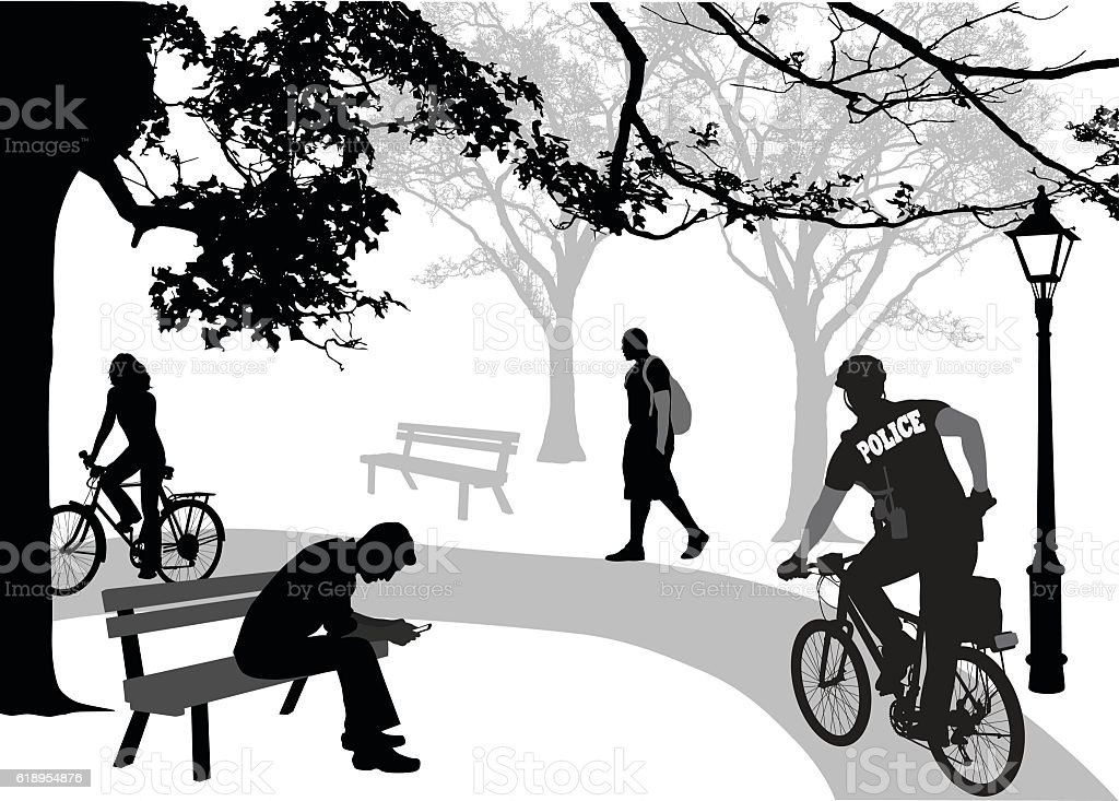 Police Cycling In The Park vector art illustration