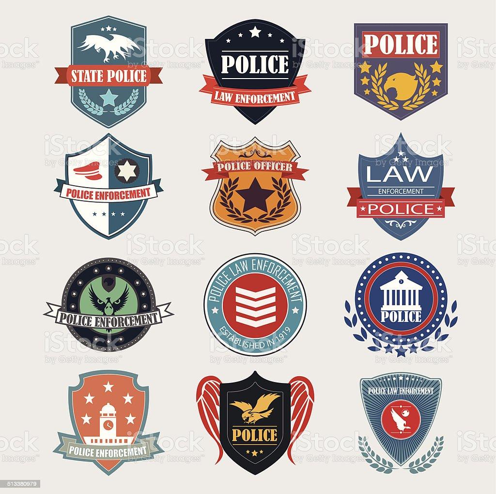 Police department badges label and design elements. Vector Illus vector art illustration