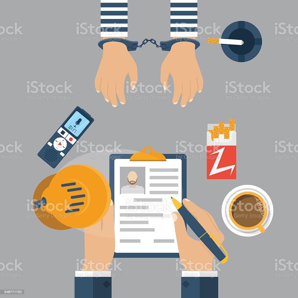 Police detective interrogating a prisoner in handcuffs vector art illustration