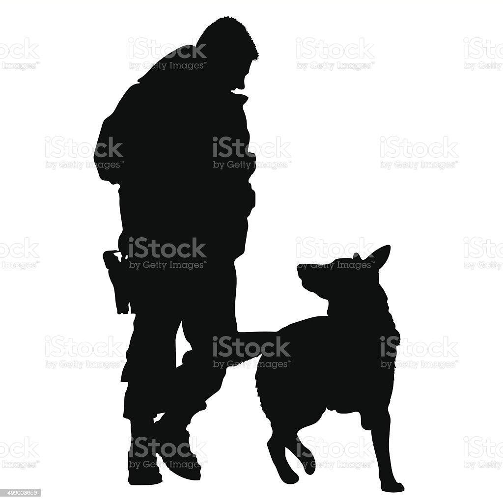 Police Dog Silhouette vector art illustration