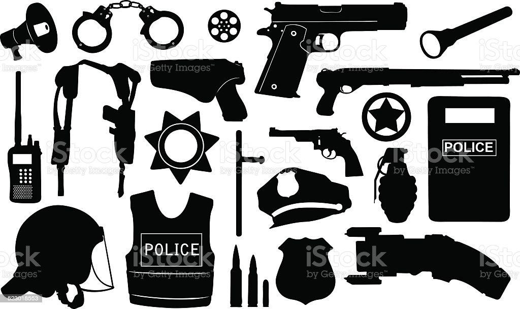 police equipment vector art illustration
