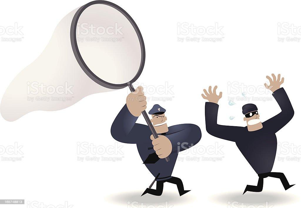Police Holding Big Netting,  Running Chasing Thief vector art illustration