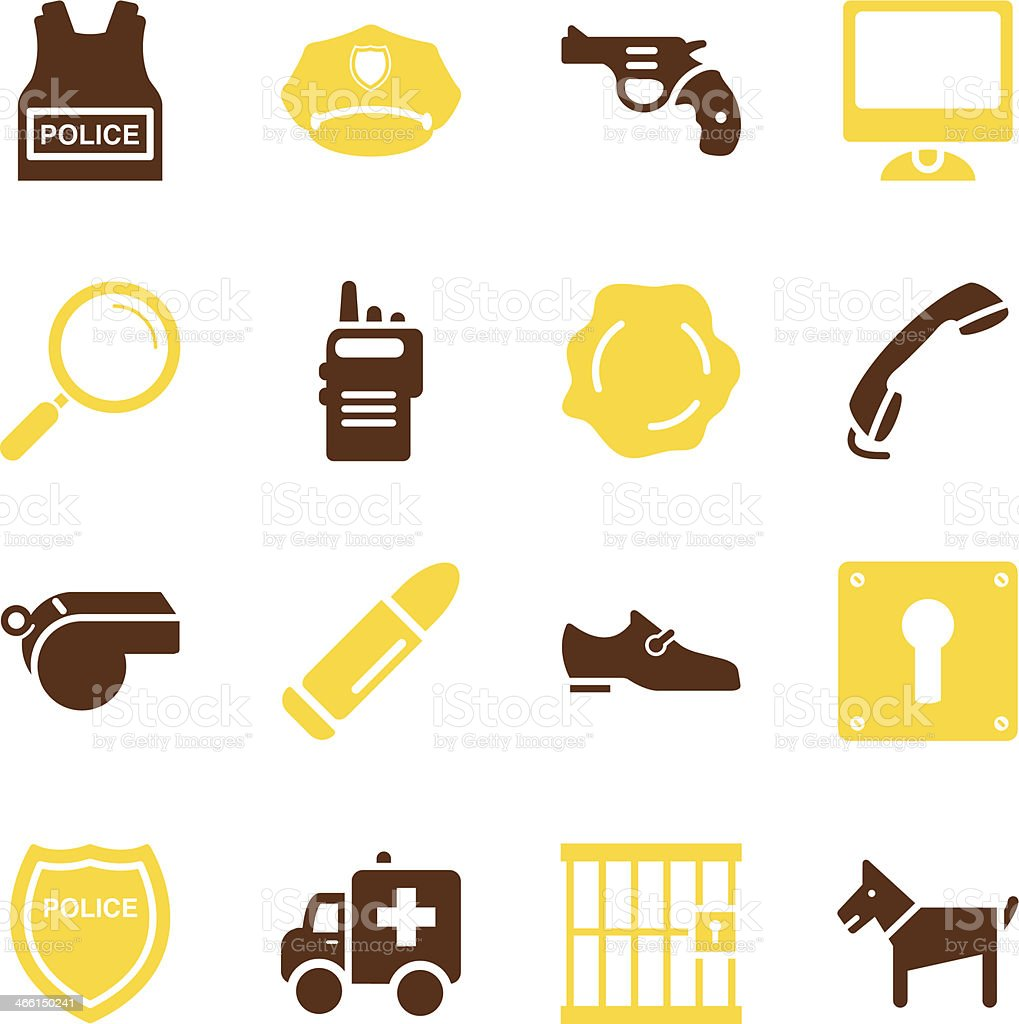 Police Icons   Color Series vector art illustration