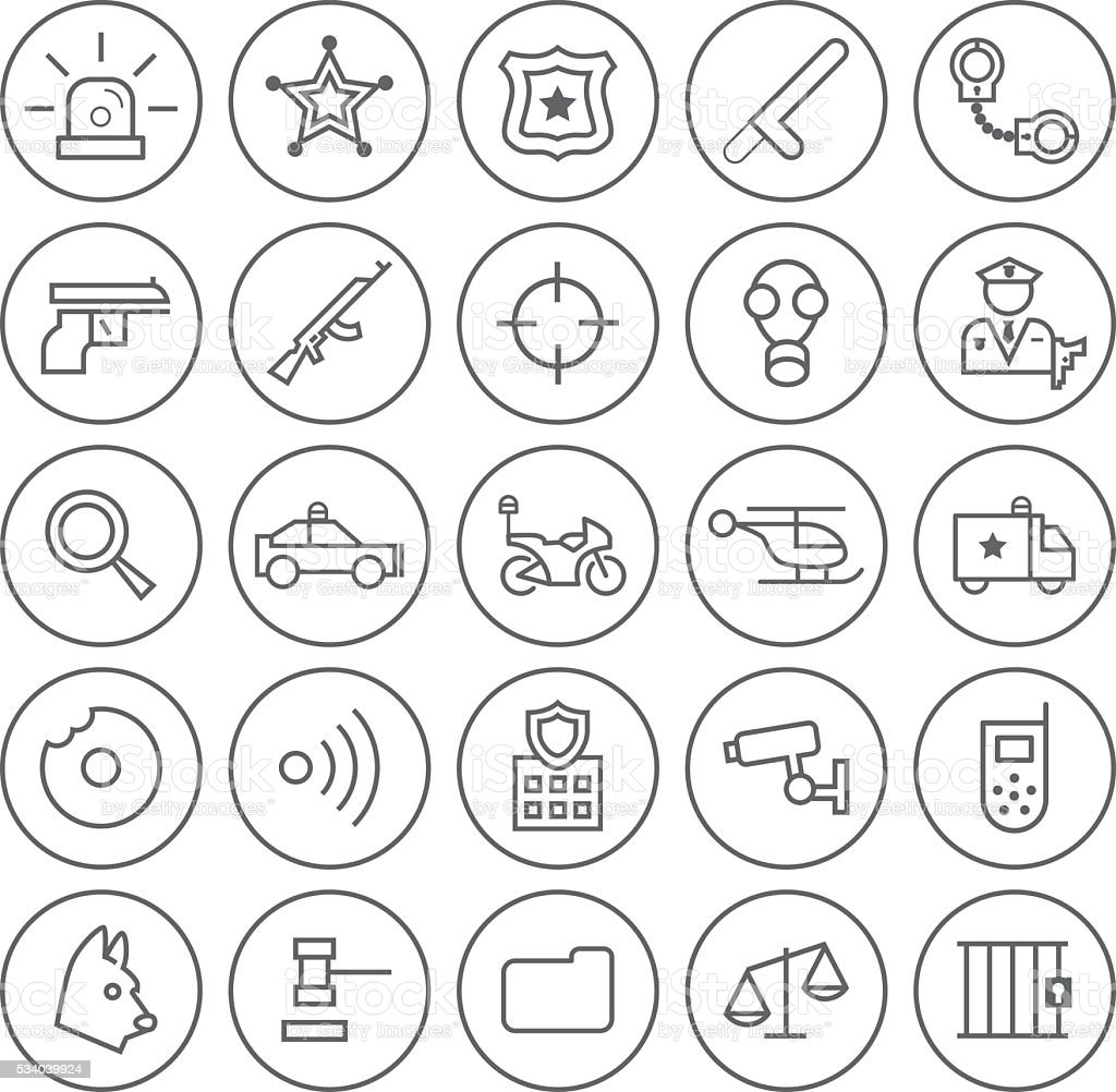 Police Icons on Circular Buttons. vector art illustration