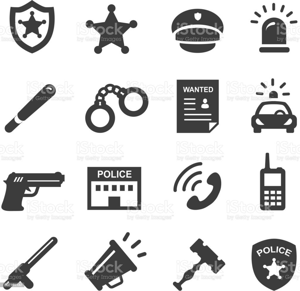 police icons set vector art illustration