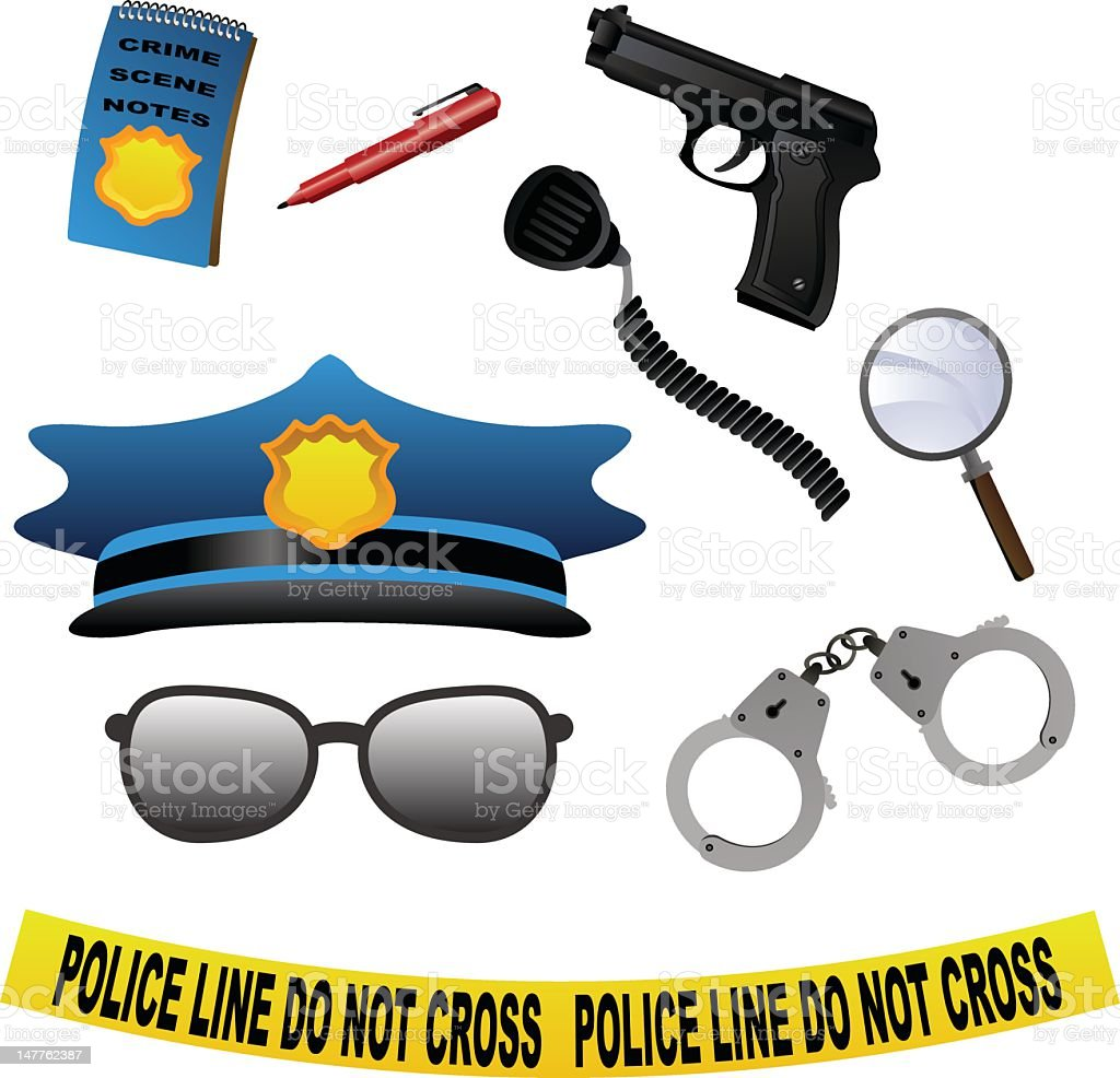 Police Icons vector art illustration