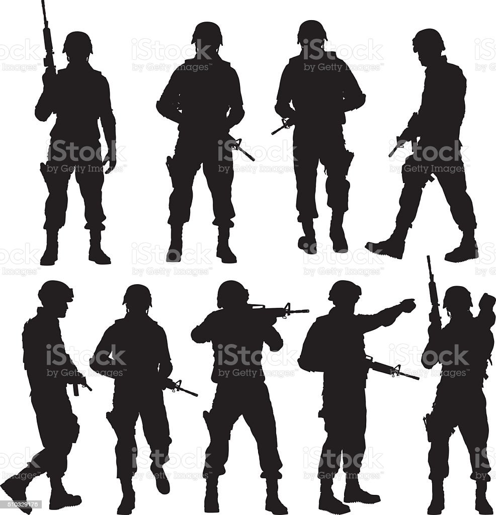 Police in various actions vector art illustration