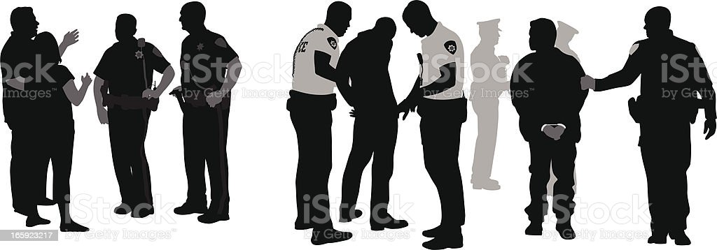 Police Issues Vector Silhouette vector art illustration