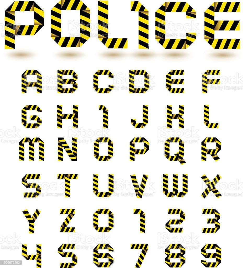 Police line alphabet royalty-free stock vector art