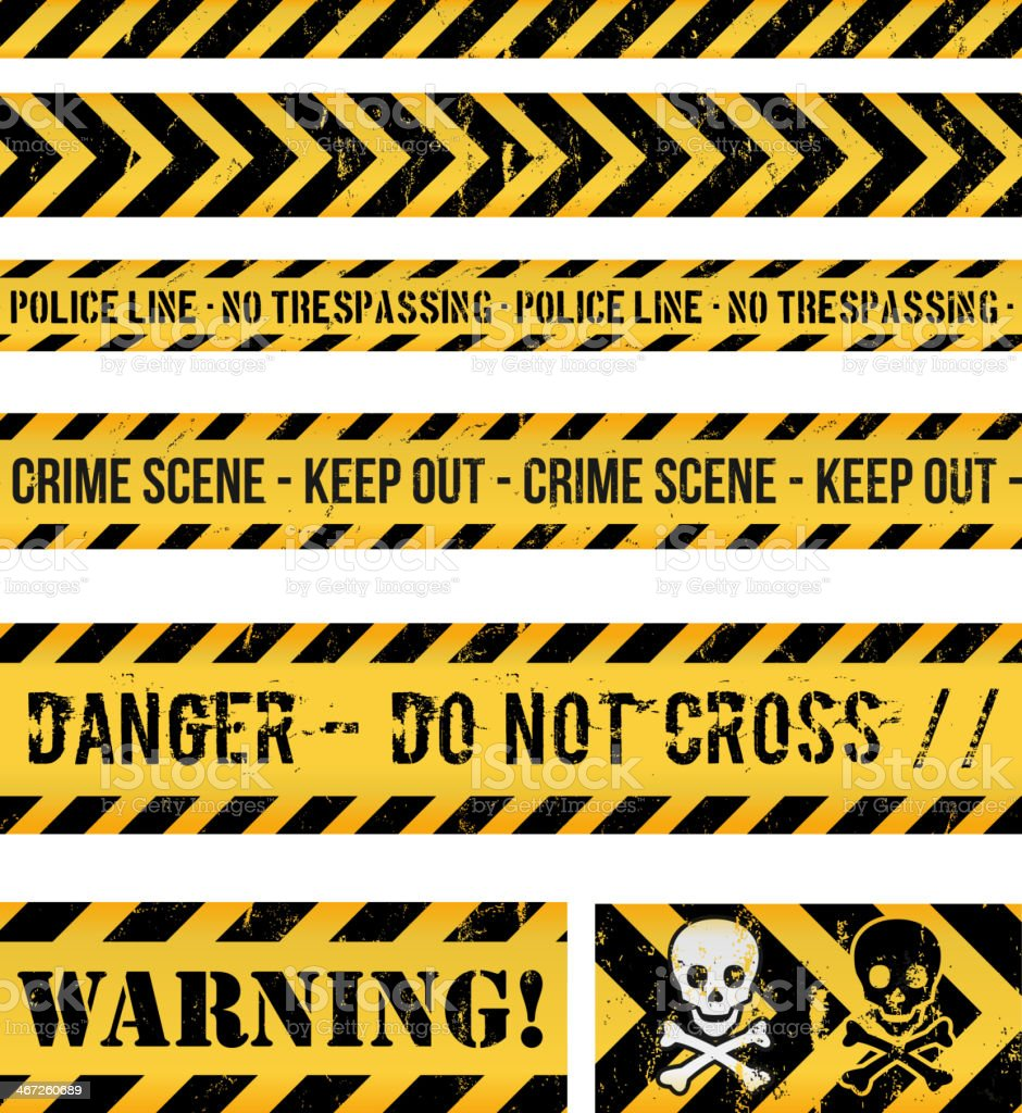 Police Line, Crime And Warning Seamless Tapes vector art illustration