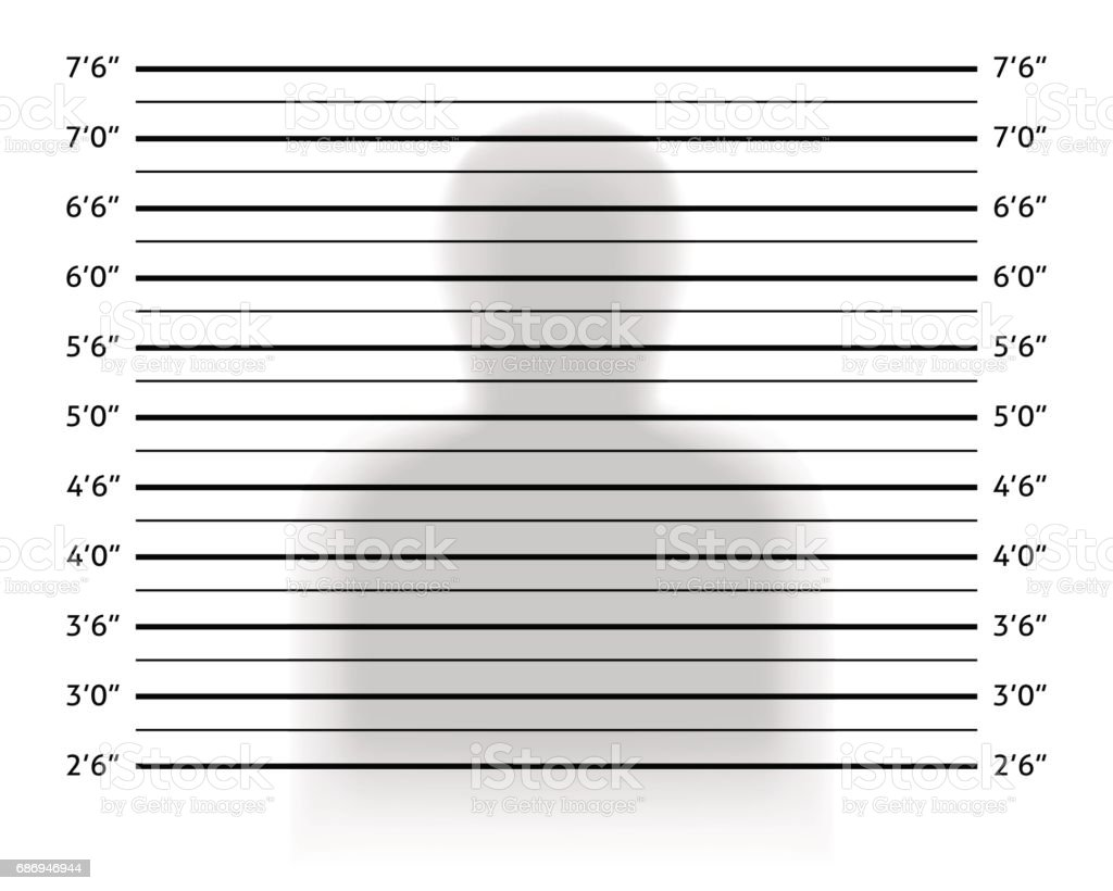 Police lineup or mugshot background with anonymous shadow. vector art illustration