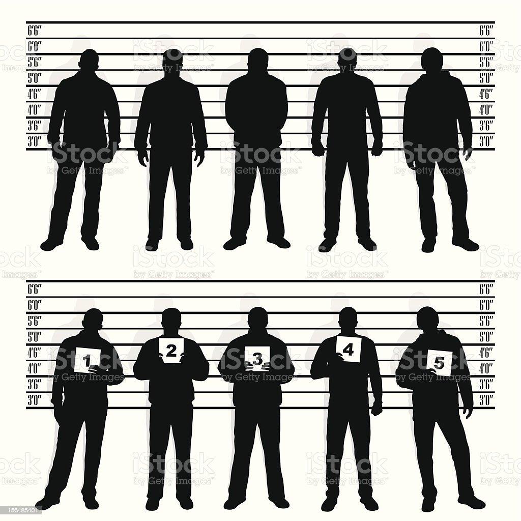 police line-up vector art illustration