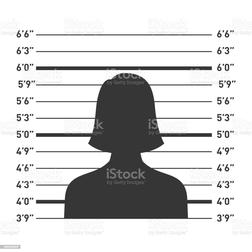 Police Lineup with Woman Silhouette. Vector vector art illustration