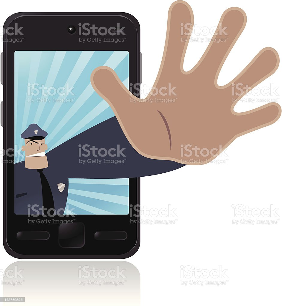 Police making stop gesture and protecting your cell phone vector art illustration