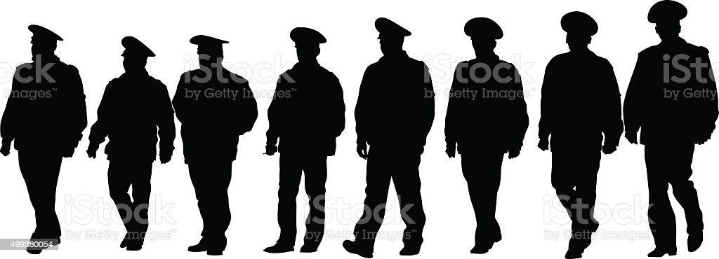 Police men vector art illustration